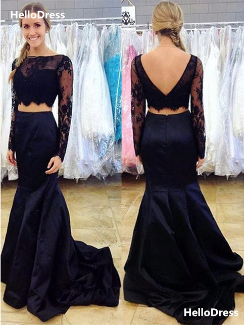 Long Sleeves Lace Top And Satin Skirt Black 2 Pieces Prom