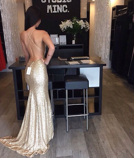 Gold Sequin Prom Dress, Backless Prom Dress, Criss-cross Back Prom ...