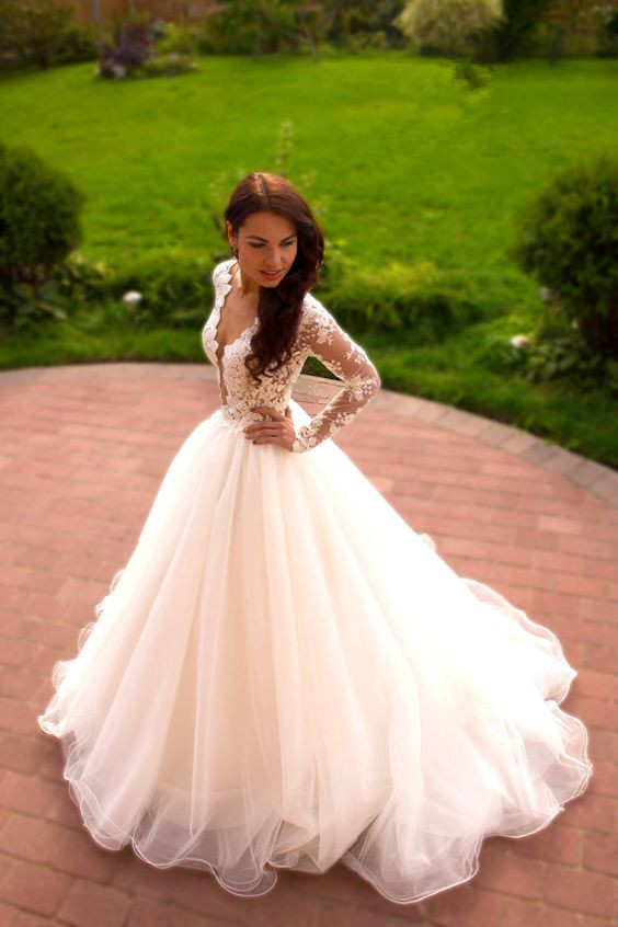 Romantic wedding dressa line wedding dressv neck wedding dress w20 original junglespirit Images