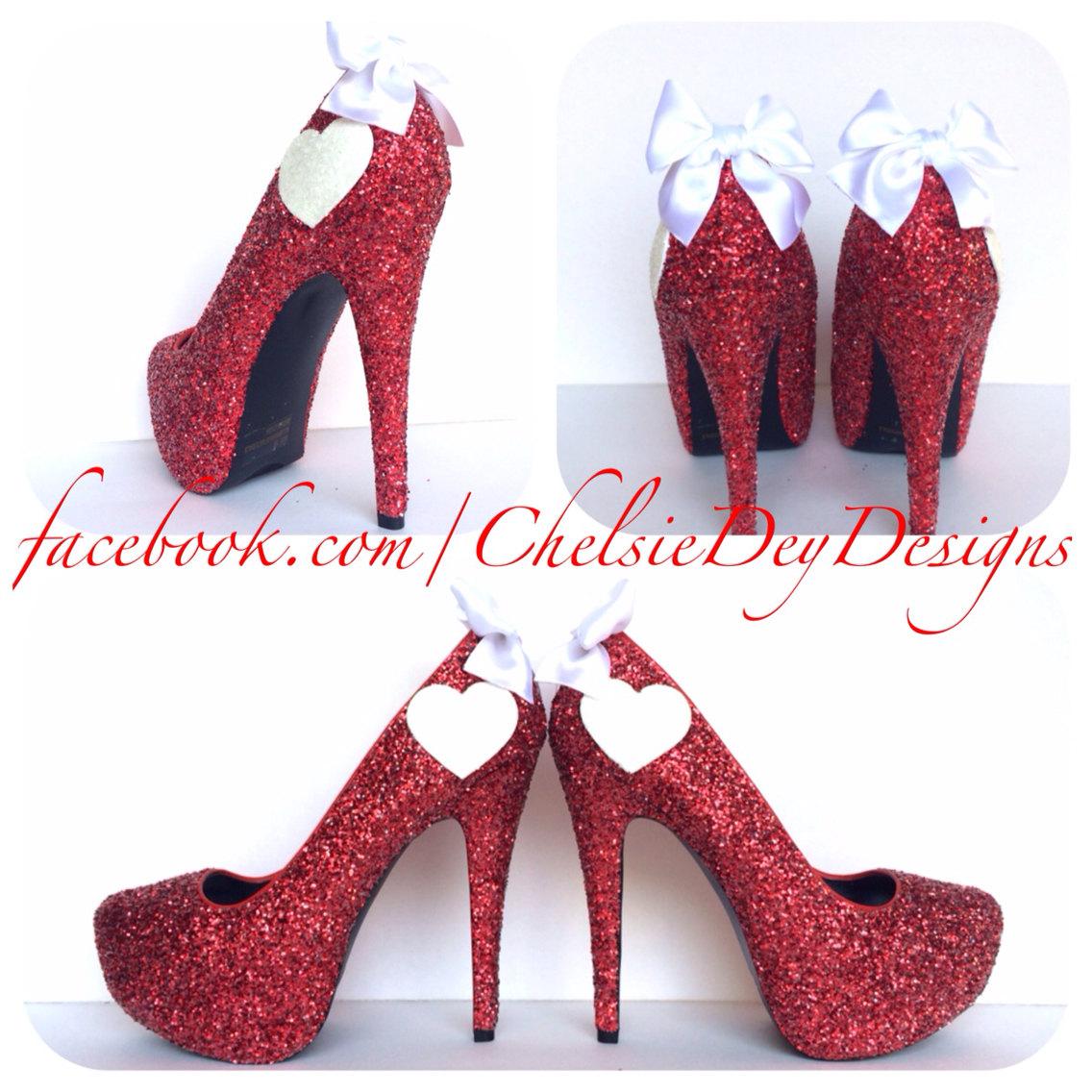 5dee475d8ba1a Glitter High Heels - Red Pumps - Pomegranate Platform Shoes - White Hearts  - Glitzy Wedding Bridal Heels - White Satin Bows from Chelsie Dey Designs