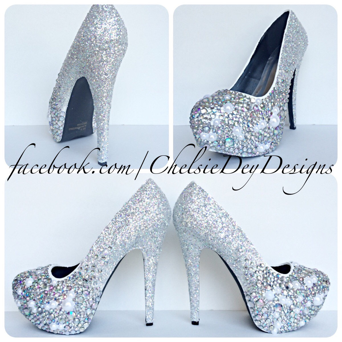 5377e75fe7e8d Rhinestone Pearl Glitter High Heels, Silver Crystal Iridescent Platform  Pumps, Ombre Wedding Shoes from Chelsie Dey Designs