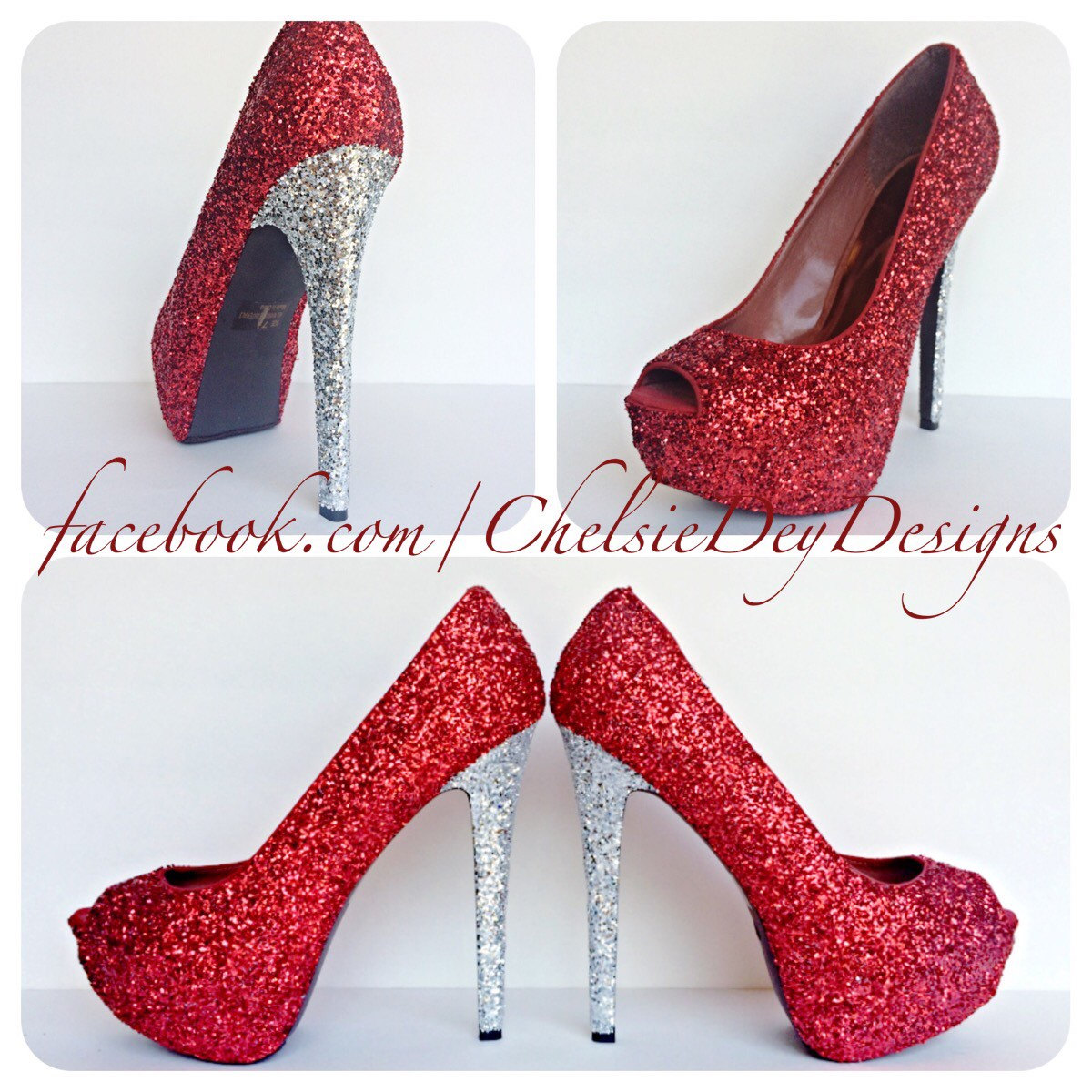 e777e3fd437 Red Glitter Peep Toe Pumps, Crimson Open Toe High Heels, Prom Shoes from  Chelsie Dey Designs
