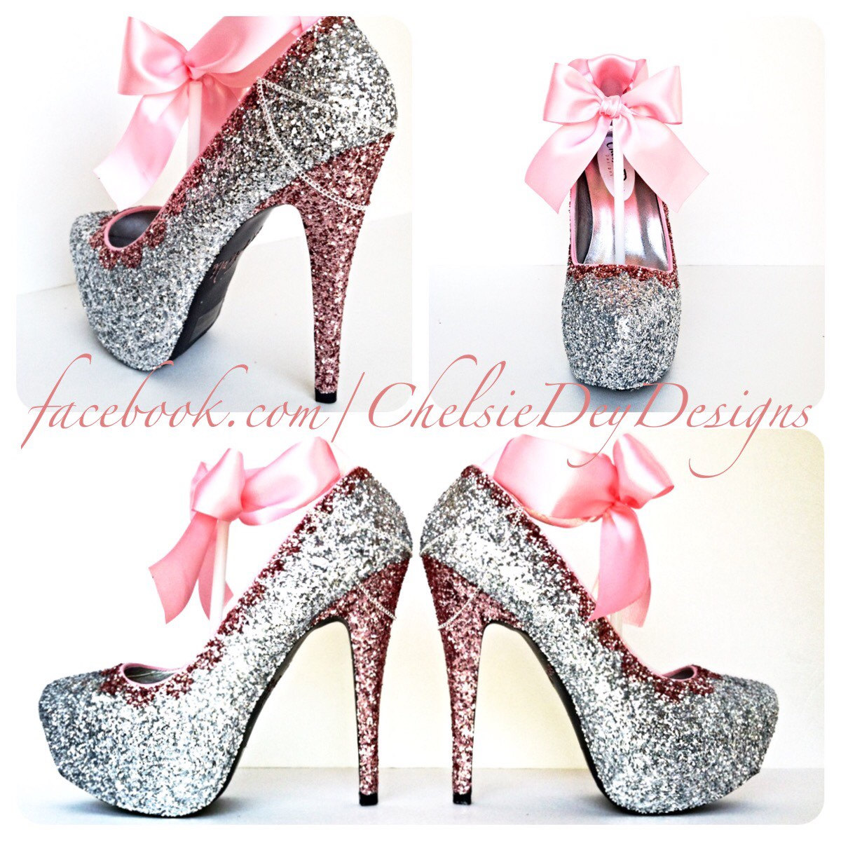 a602171695fe Glitter High Heels - Pink and Silver Pumps - Bubblegum Light Pink ...