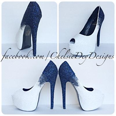 6b5b92776a5a Blue Ombre Glitter High Heels, Something Blue Peep Toe Pumps, Open Toe  Wedding Shoes