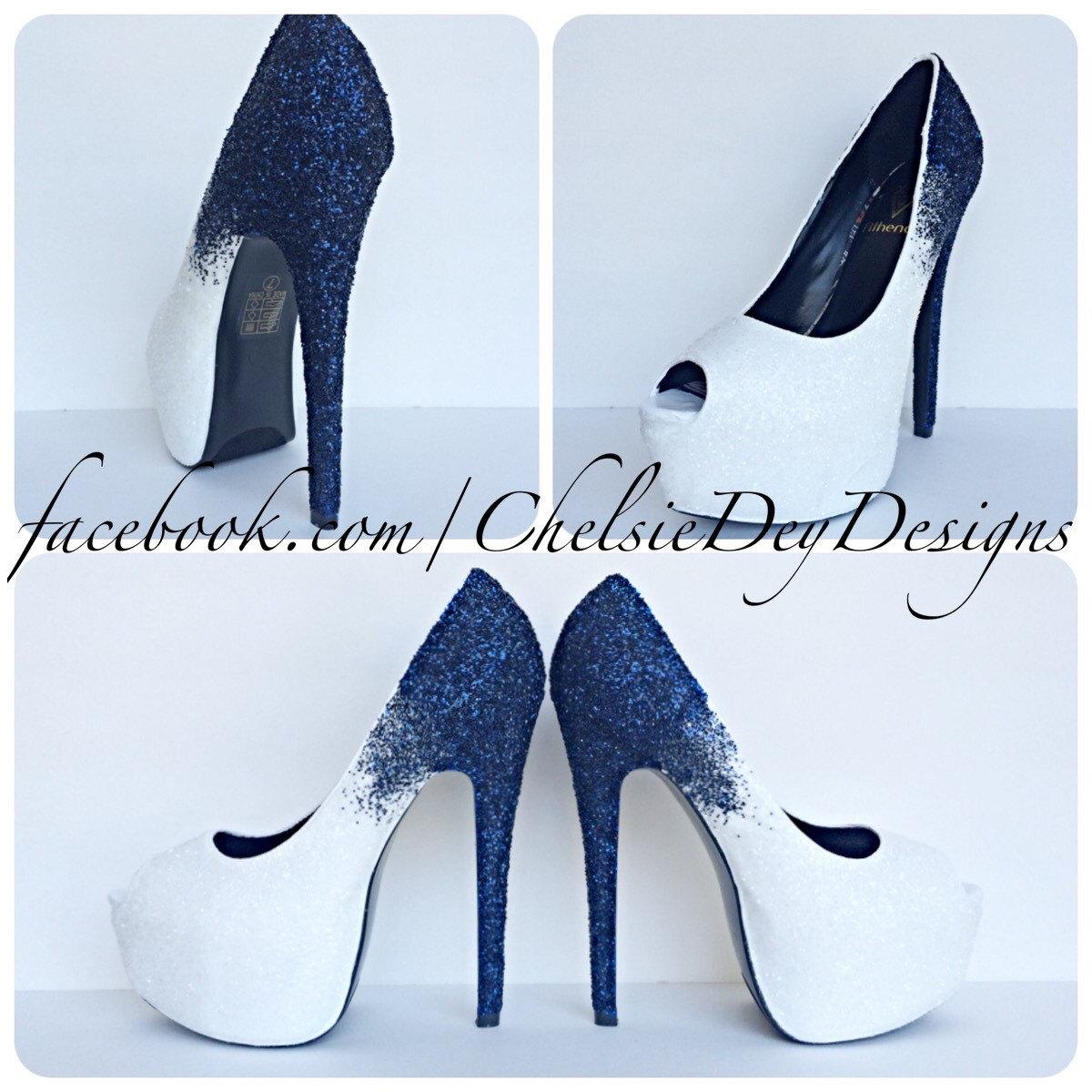 42c27a31b0e6 Blue Ombre Glitter High Heels