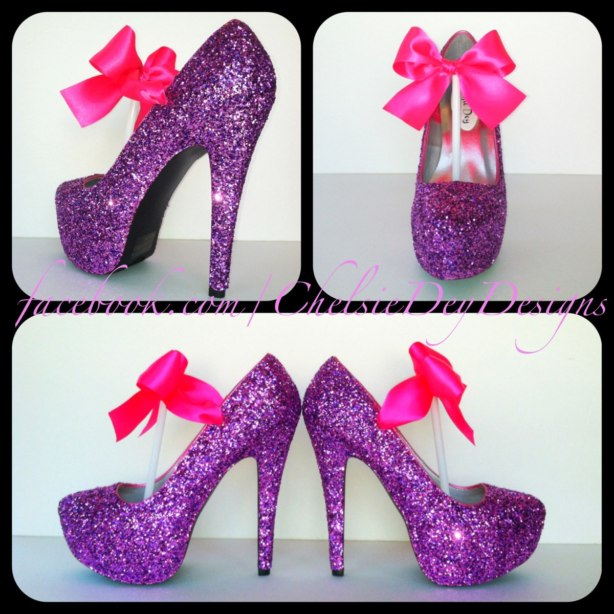 f7b210531c37 Glitter High Heels - Pink Purple Pumps - Barbie Platform Shoes - Glitzy  Sparkly Bridal Heels