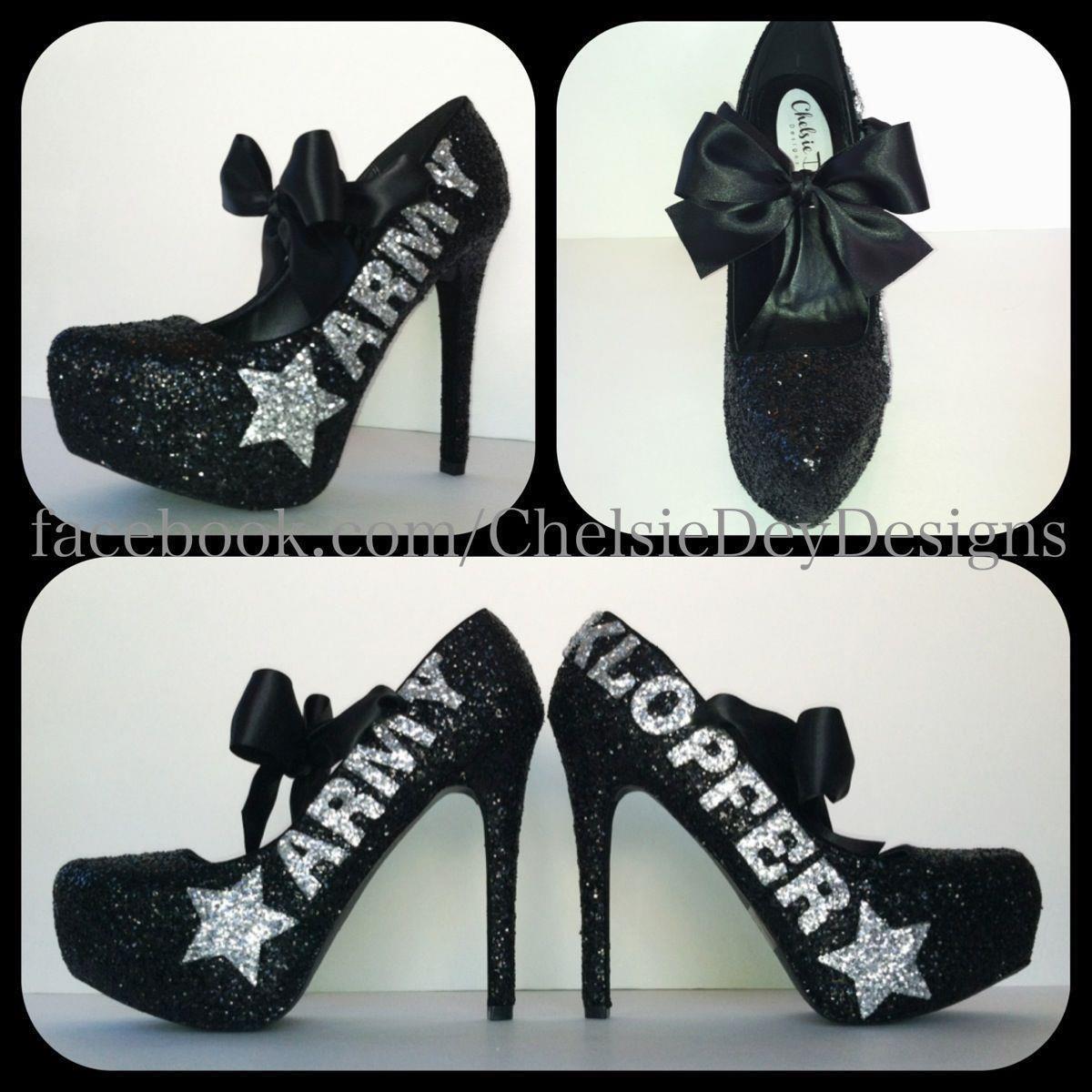 ea7cf2de8ba Black and Silver U.S. Army Last Name Star Glitter Pump High Heels with  Satin Bows