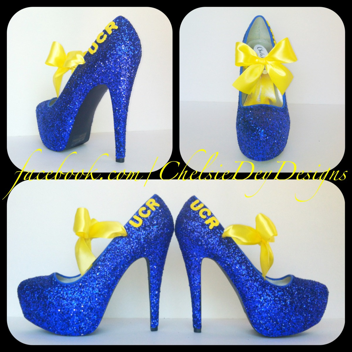 ae963715889719 Royal Blue and Yellow School Spirit Glitter Pump High Heels with Satin Bows