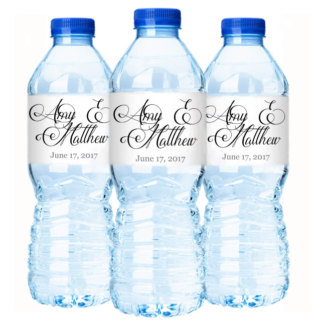 Wedding Water Bottle Labels.Script Names Wedding Water Bottle Labels Set Of 30 Waterproof Wedding Labels