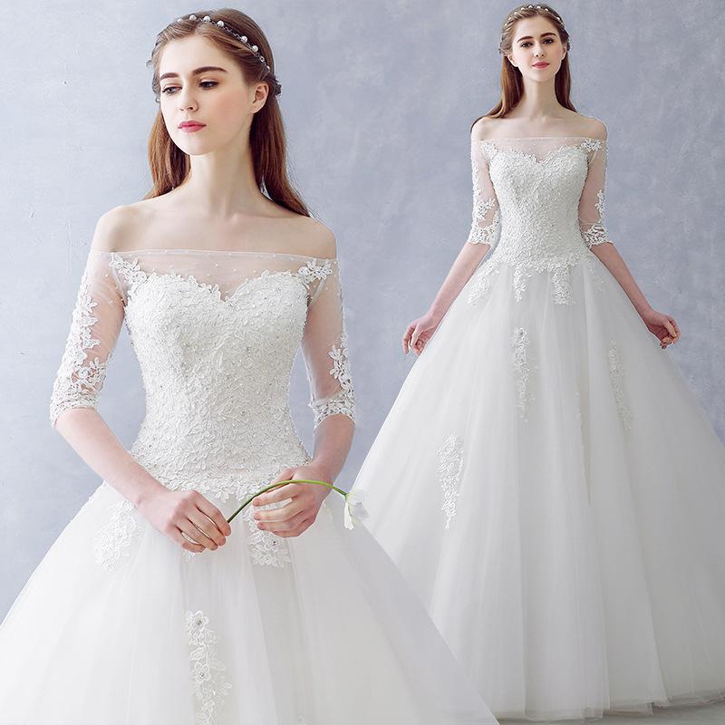 9bd5fd48e1 A23 Vestido De Novia Bride Fashion Wedding Dresses Sweet Boat Neck Half  Sleeves Lace Flower Elegant