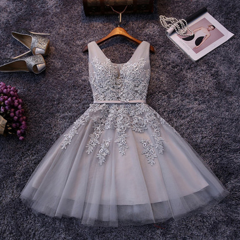 Gray A Line Round Neck Tulle Lace Short Prom Dress Homecoming Dress On Storenvy