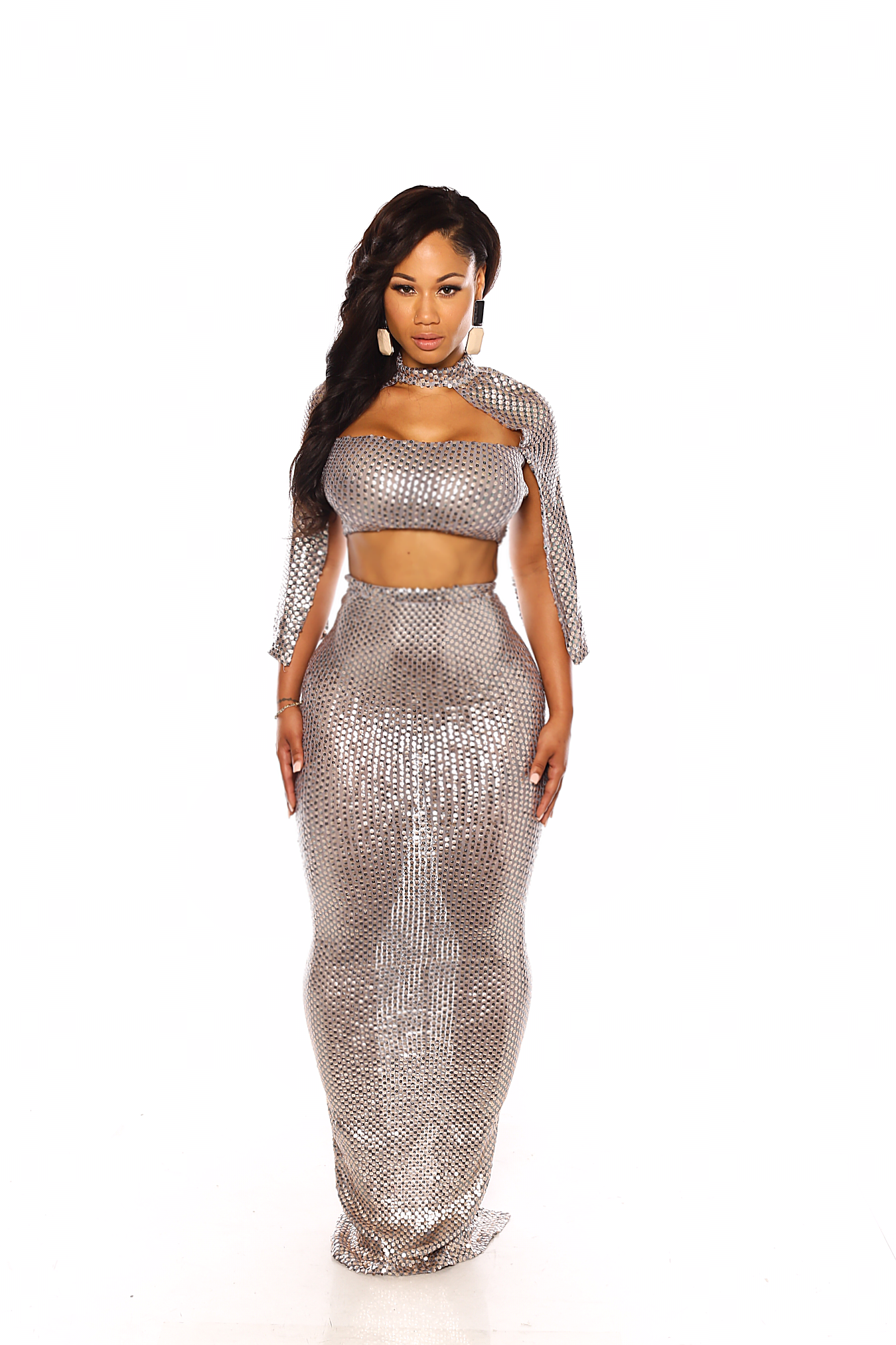 b19f66b360b CUSTOM SEQUIN 2 PIECE CAPE TOP AND MAXI SKIRT · KENNEDI KOUTURE ...