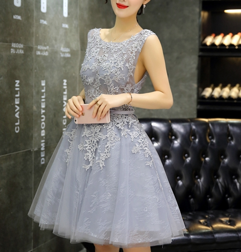 8ef60393118b ... New design gray A-line lace short prom dress,homecoming dress,bridesmaid  dress ...