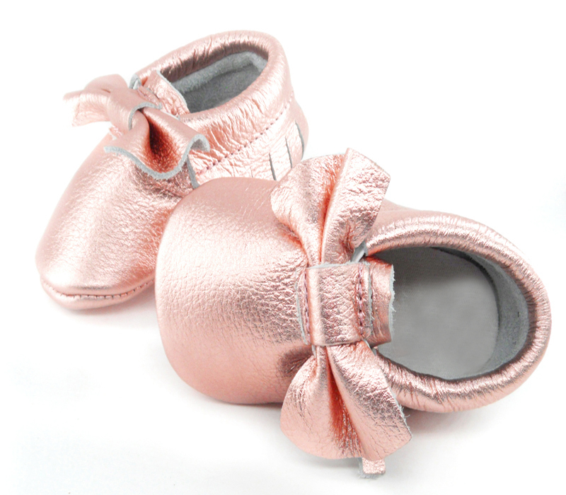 d077de4913f64 Baby Moccasins - Rose Gold with Bow