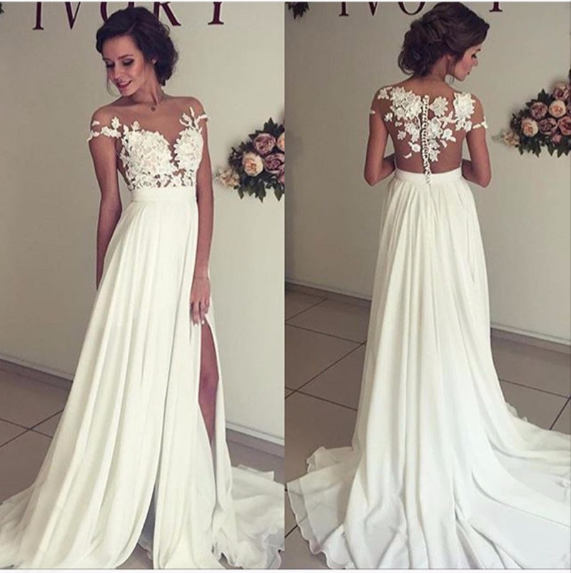 Elegant Lace Sleeve Short Wedding Dresses 2016 Scoop Neck: Summer Chiffon Wedding Dresses Lace Top Short Sleeves Side