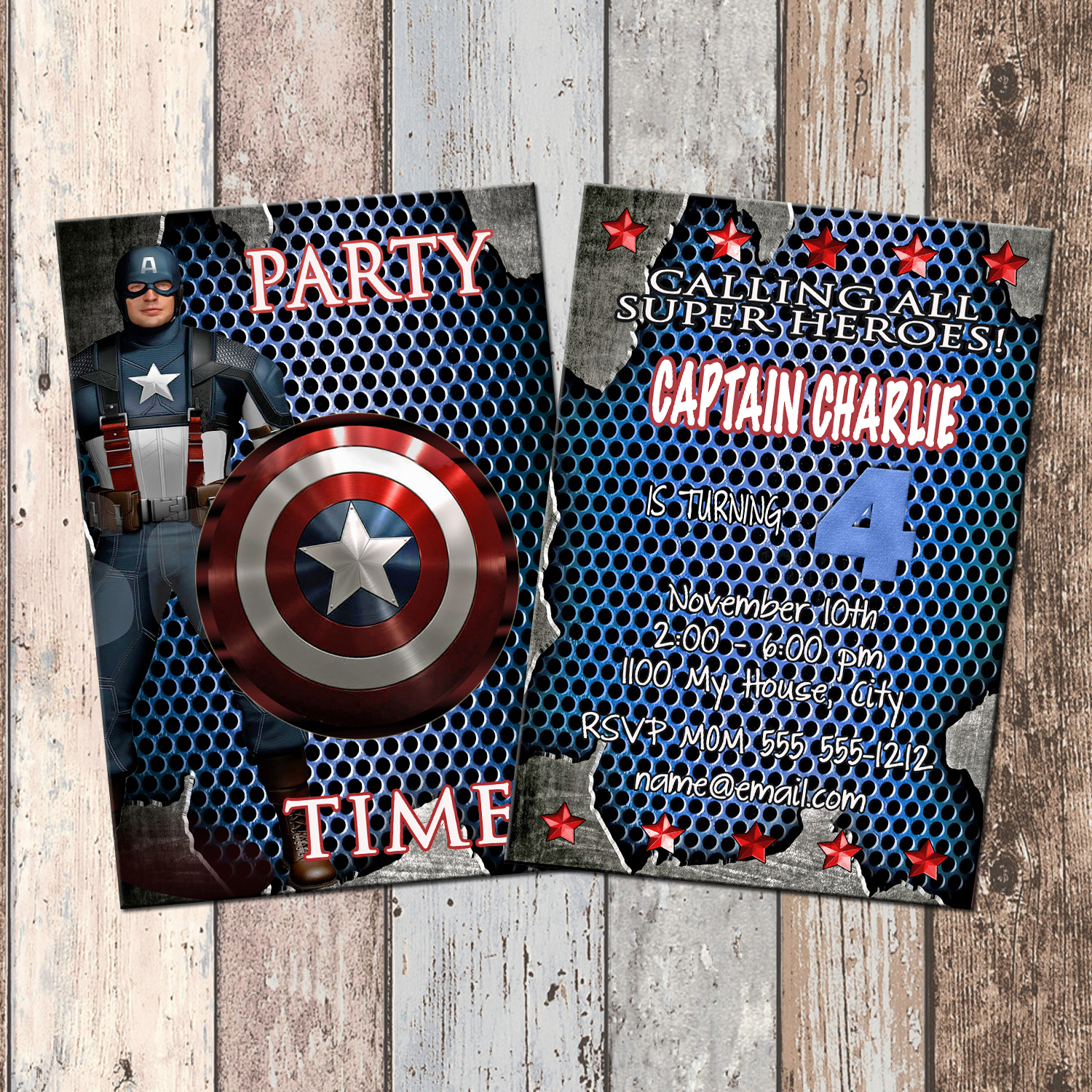 Captain America Superhero Personalized Birthday Invitation 2 Sided Card Party