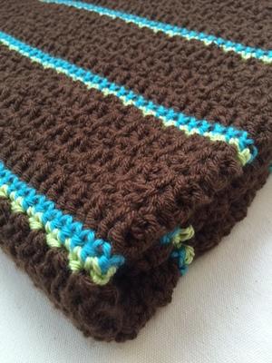 Handmade Single Crochet Baby Blanketnursery Beddingbrownturquoise