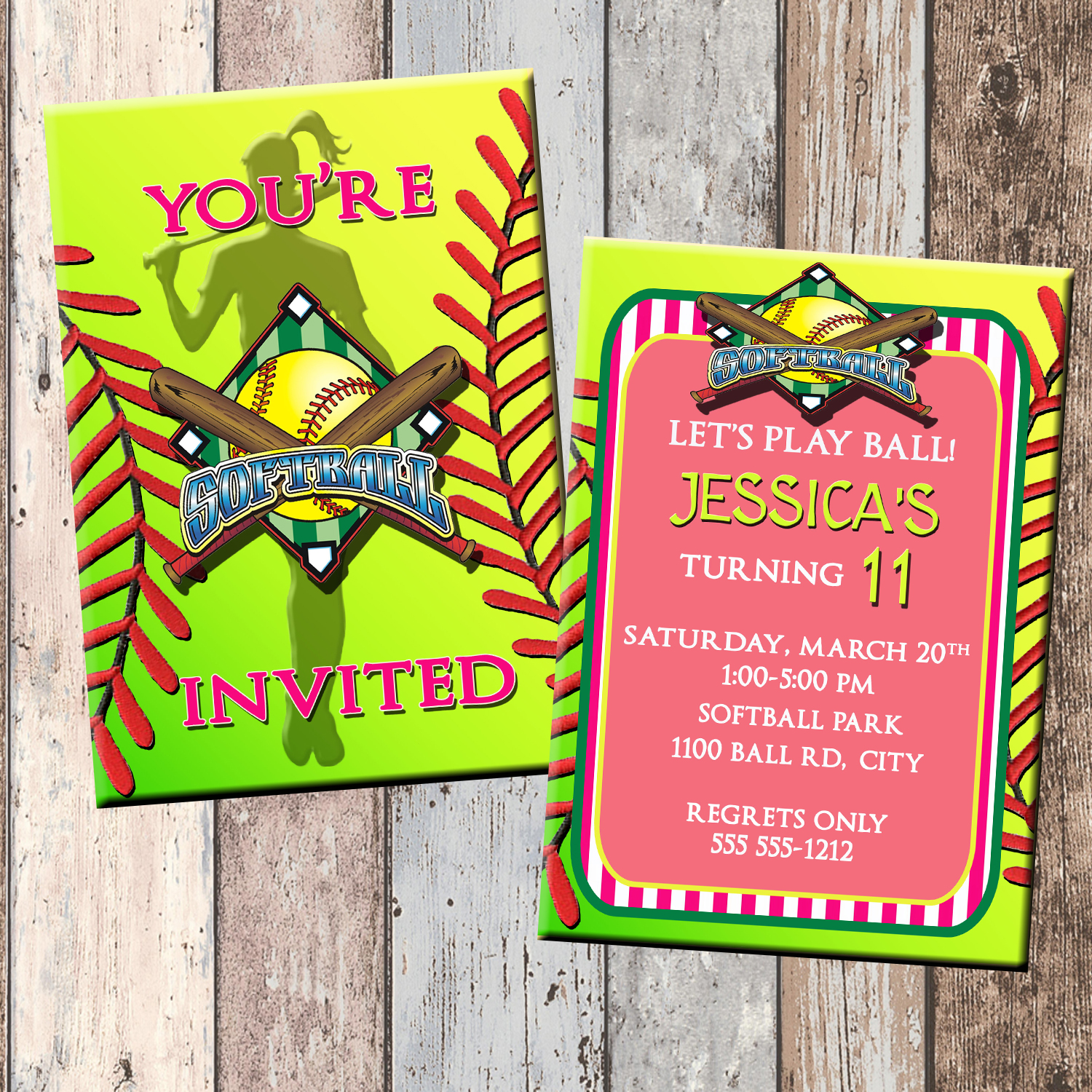 Softball Personalized Birthday Invitation 2 Sided Card Party