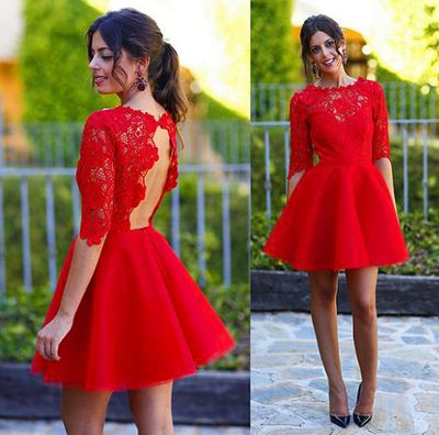 2fc59ca54 Red Lace Homecoming Dresses, Open Back Homecoming Dresses, Organza  Homecoming Dresses, Juniors Homecoming