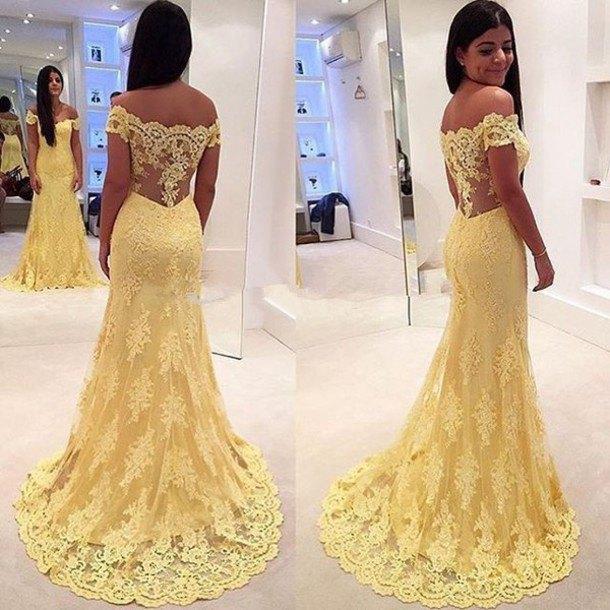 2a9cef6fcf4f Custom Made Yellow Lace off shoulder long Prom Dress