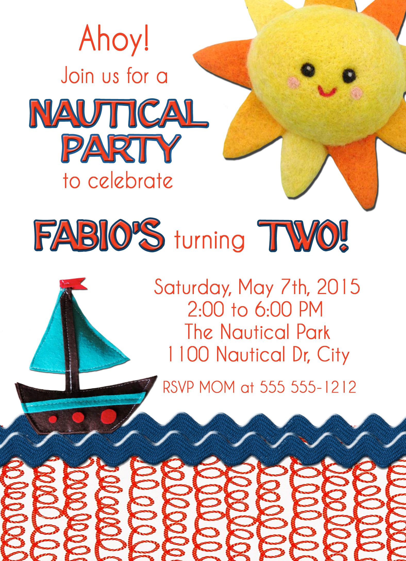 Nautical Birthday Invitation 1 Sided, Birthday Card, Party ...