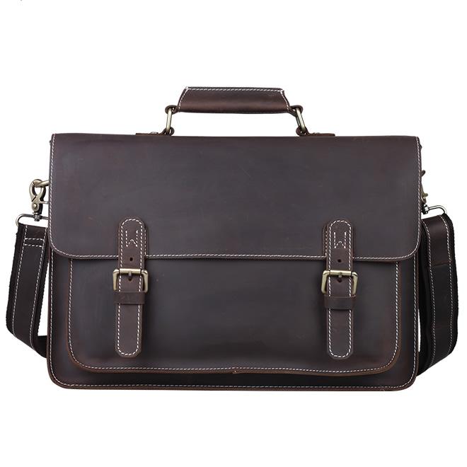 b7ff2aa5a3 Men's Handmade Vintage Leather Briefcase / Leather Messenger Bag / 13
