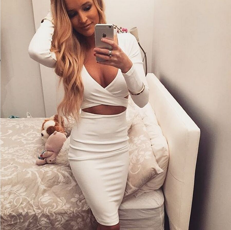 40447143d14 Women Sexy V Neck Long Sleeve Party Dress Plus Size Bandage Dresses ...