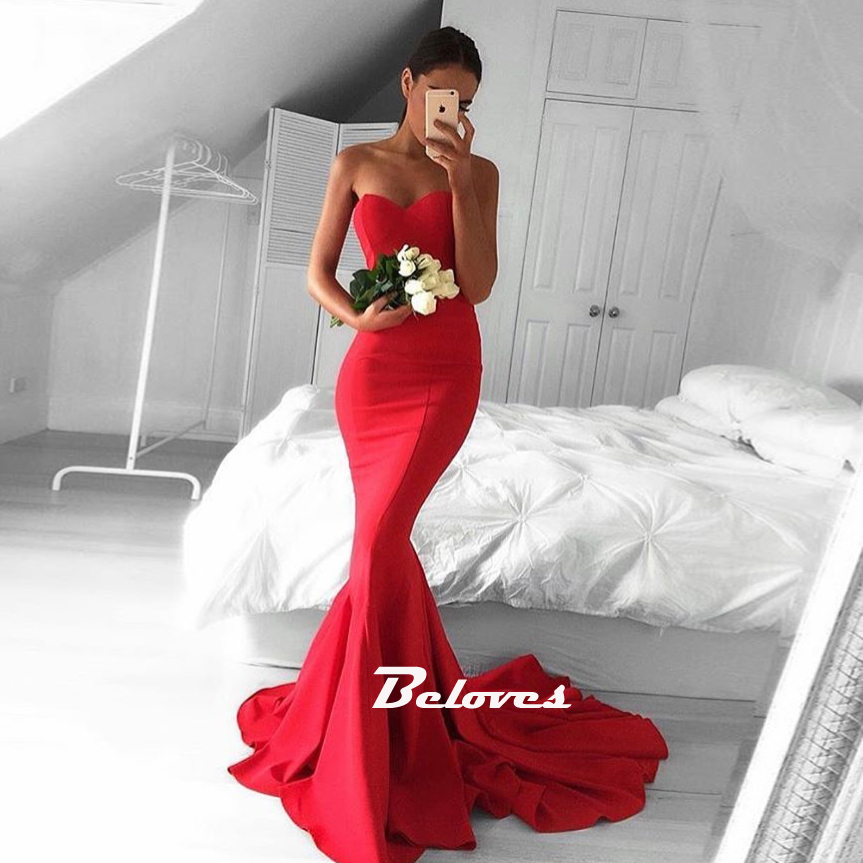 Red Sweetheart Satin Mermaid Prom Dress, Formal Gown With Sweep ...