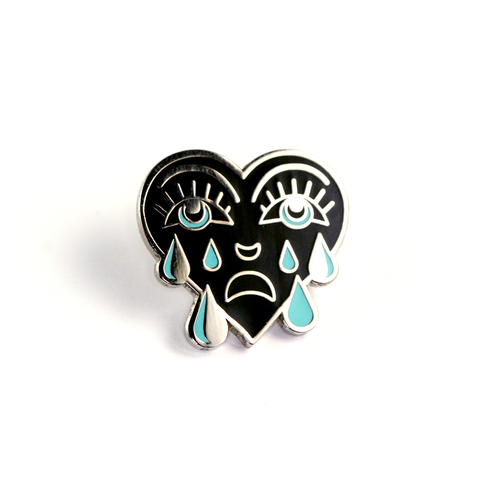 Teal Crying Heart Enamel Pin On Storenvy