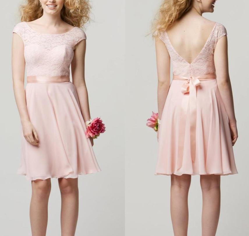 20f734943 Cap sleeve bridesmaid dress, short blush pink bridesmaid dress, lace bridesmaid  dress, bridesmaid