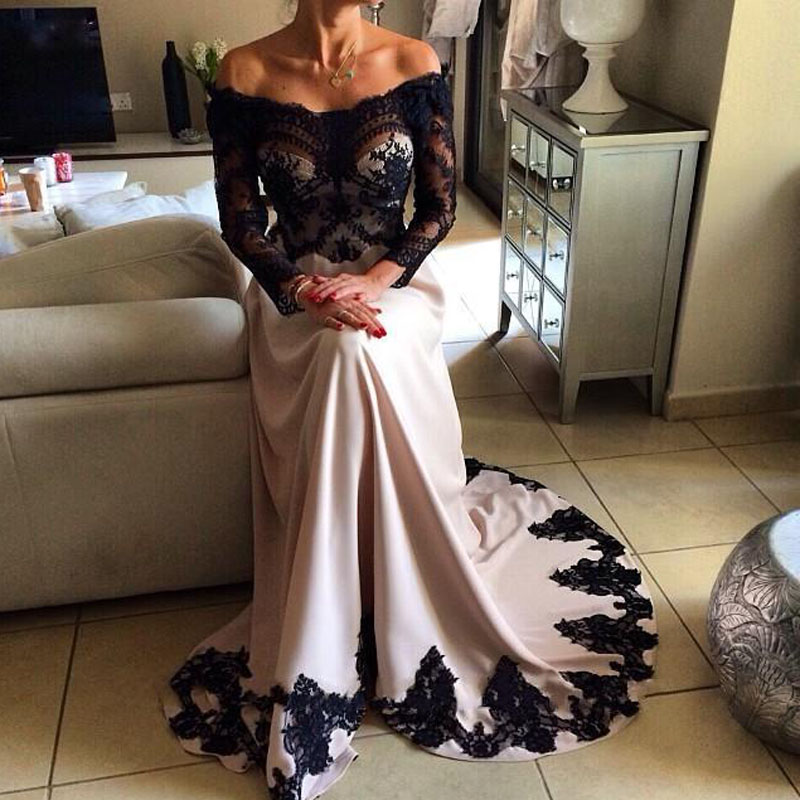 New Fashion Black Evening Gowns Long Sleeves Off the Shoulder Lace ...