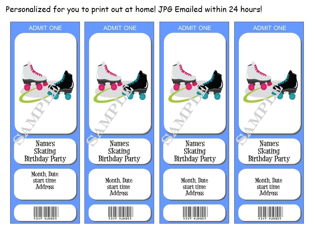 skating Birthday party Invitations/Tickets - personalized - You ...
