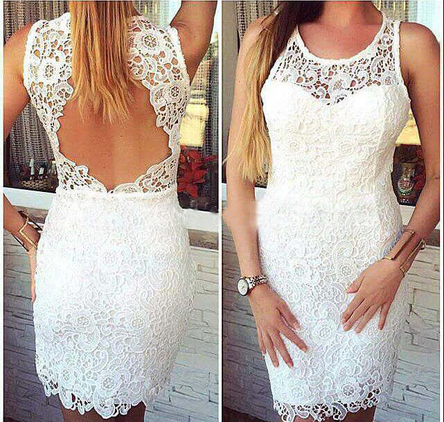 Lace Backless Short Prom Dresses