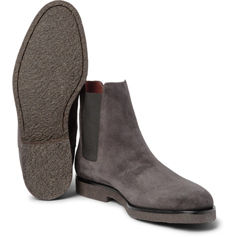 e4b1bd867415 Handmade men dark gray color suede boot