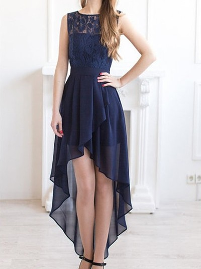 Blue high low semi formal dresses mine very