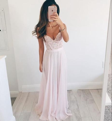 e8db644c85 Lace chiffon prom dress, Beach Wedding dress, Simple prom dress, Long prom  dress