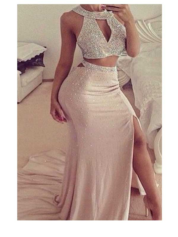 Long Prom Dress,two pieces prom dress,beads prom dress,slip side ...