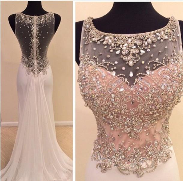 4d9934b1ebfd Sexy O Neck See Through Back Heavy Beaded Crystal Mermaid Evening Dress  2016 Long Chiffon White