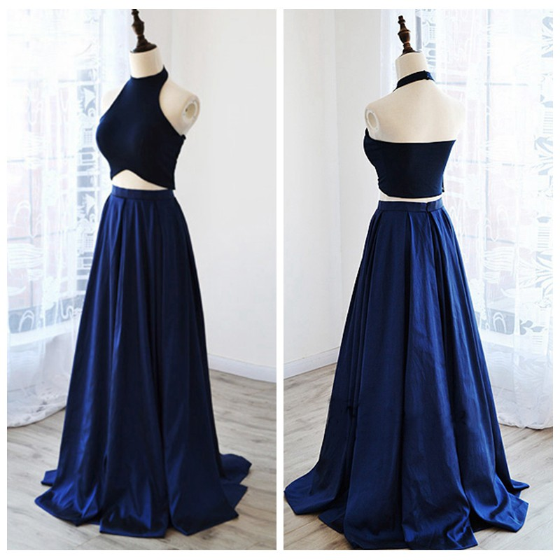 Two Piece Prom Dresses Simple Navy Blue Satin Evening Dresses 2 ...