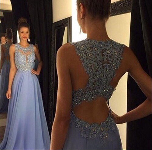 Lace open back prom dress 03d8205a9