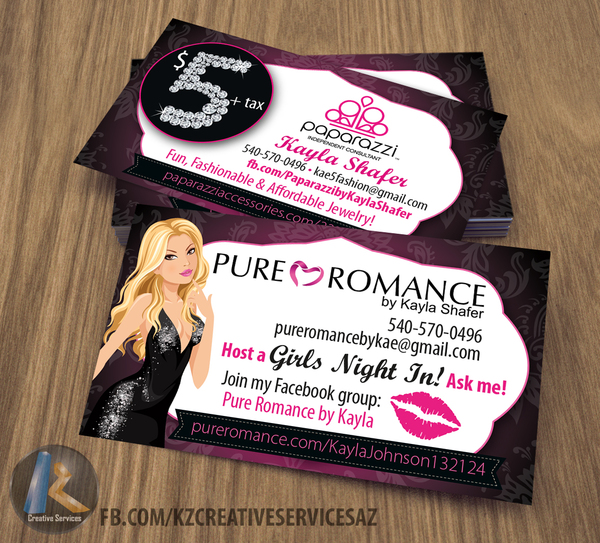 Pure Romance Business Cards Style 3 Kz Creative Services Online Store Powered By Storenvy