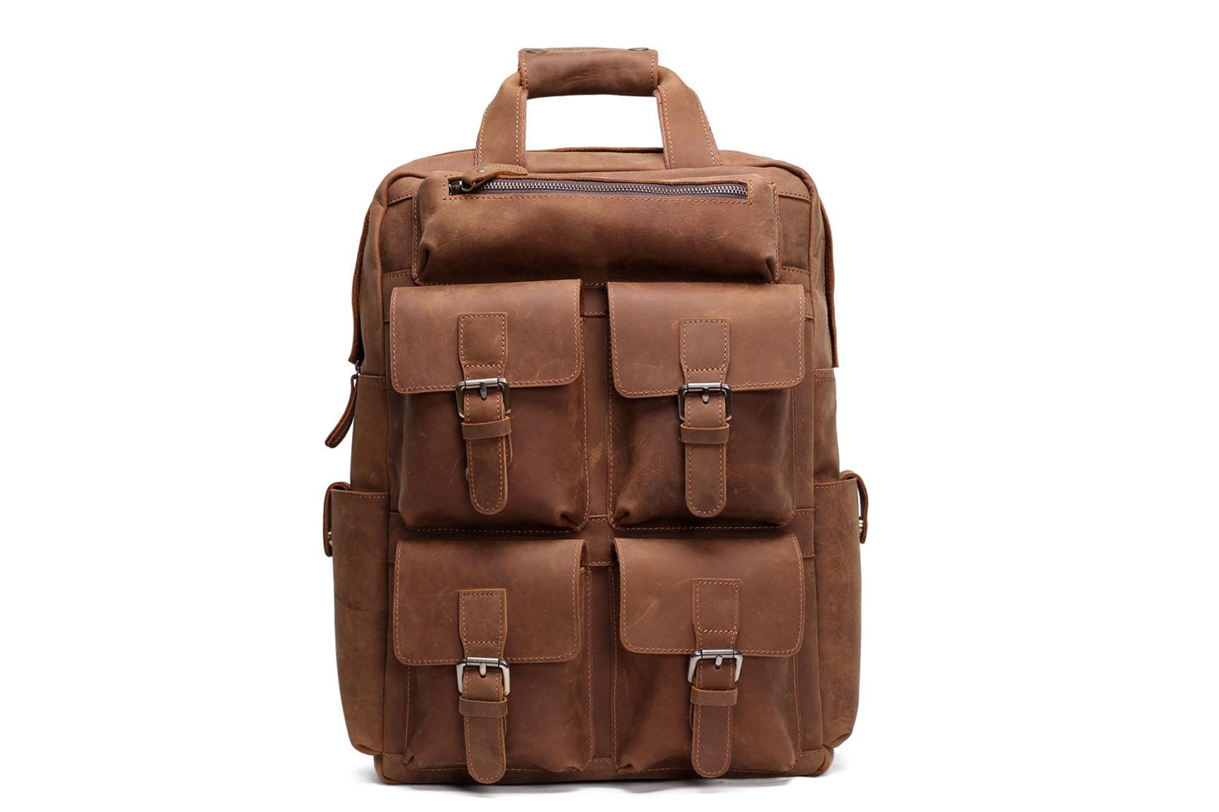 Handmade Vintage Leather Backpack Large Travel Backpack B826 ... 1e57566433bc
