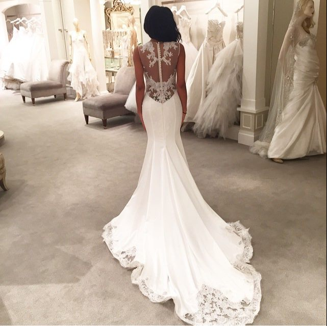 Mermaid Lace Wedding Gown: Lace Mermaid Wedding Dresses Sheer Back Buttons Lace Trim