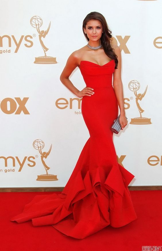 Celebrity Dress Mermaid Red Sweetheart Tiered Satin Long Evening ...