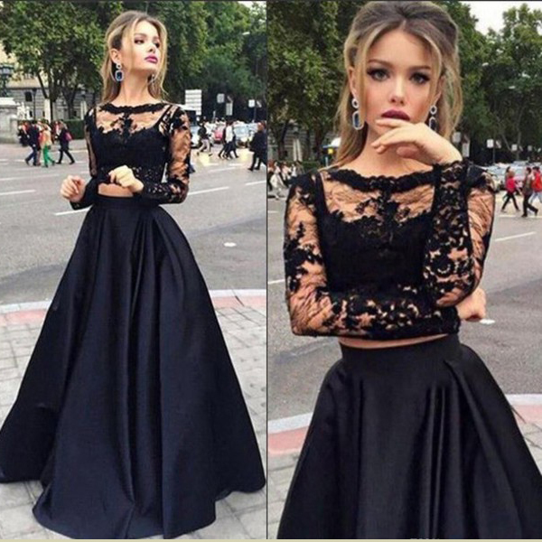 P40 2 Pieces Prom Dresses Long Sleeve Prom Dress See Through Prom