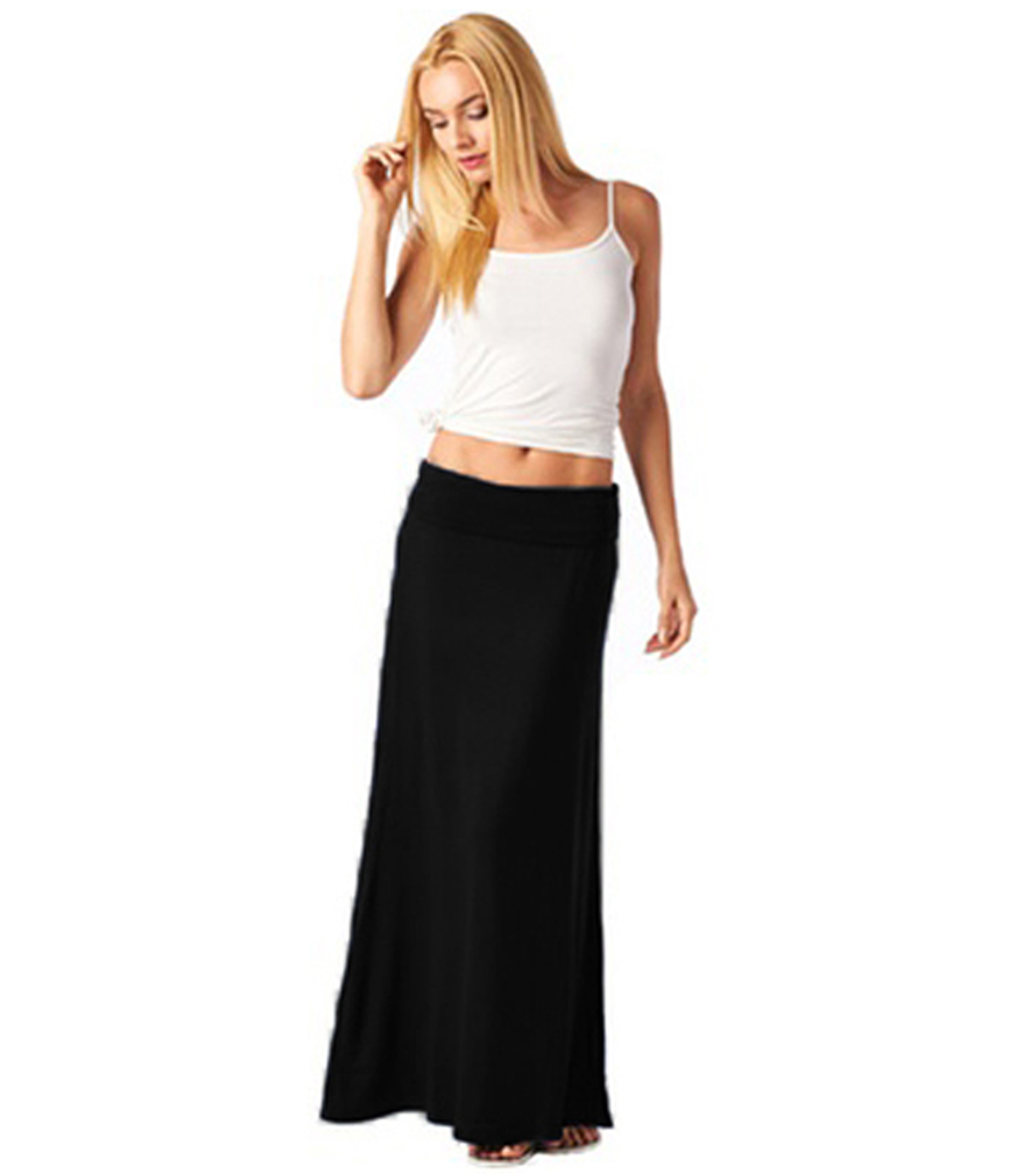 77033d0b2b Foldover Maxi Skirt - Solid Color Black - Rayon Spandex Sizes:S-L ...