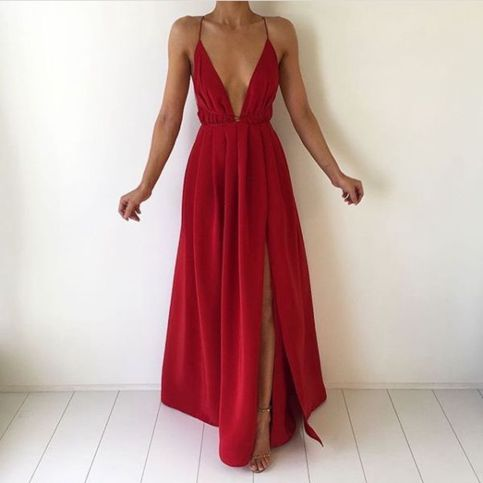 ded157174120 Simple red V-neck long prom dress