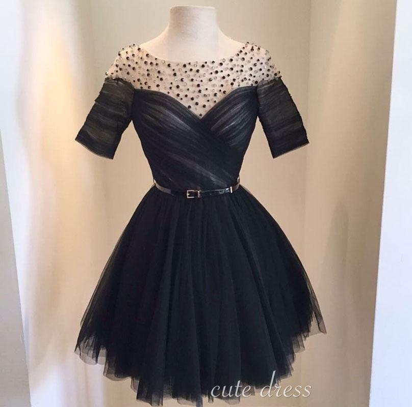 6f4b6bd045c Black round neck tulle short prom dress