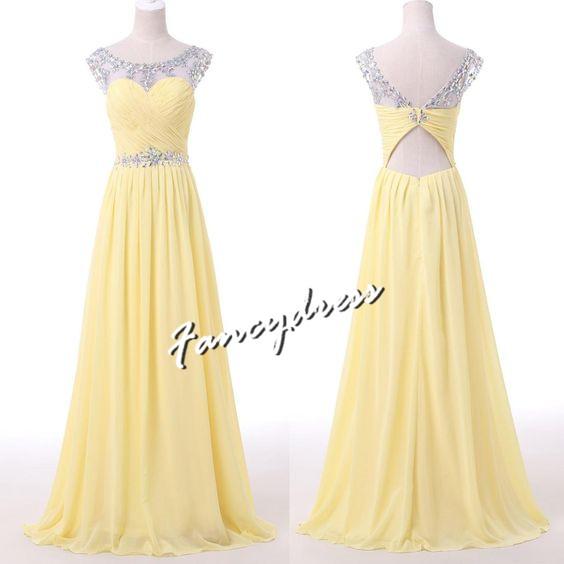 15128aaf2c84 Charming Yellow Chiffon Prom Dress,Elegant Prom Dress,Long Bridesmaid Dress,Formal  Evening