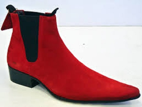Handmade Men Red Color Pointed Toe Suede Ankle Boot With